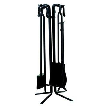 Uniflame 5-Piece Black Wrought Iton Firesets With Crook Handles