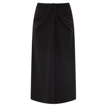 Valentino - Twisted-waist Silk-blend Twill Midi Skirt - Womens - Black