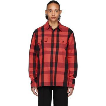 Marcelo Burlon County of Milan Red and Black Logo Check Shirt