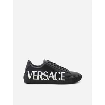 Versace Leather Sneakers With Greca Pattern