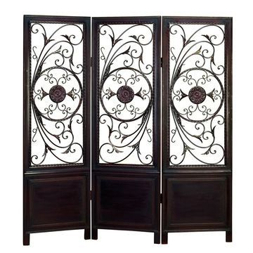 Traditional 66 Inch 3-Panel Scroll Fretwork Screen by Studio 350