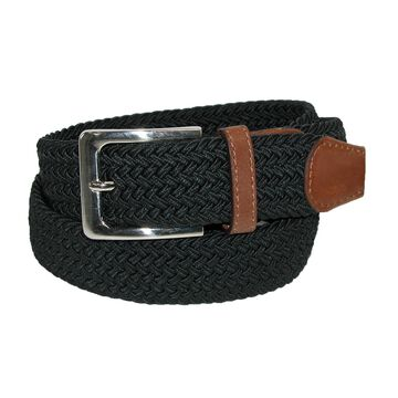 CTM Men's Elastic Braided Stretch Belt with Silver Buckle and Tan Tabs