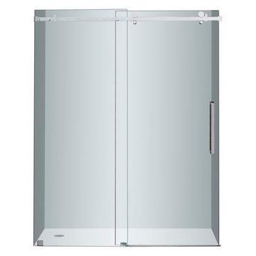 Aston Moselle Completely Frameless Sliding Shower Door, Stainless Steel, 60