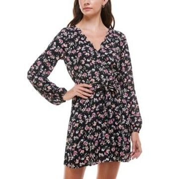 Trixxi Juniors' Floral-Print Scalloped Fit & Flare Dress