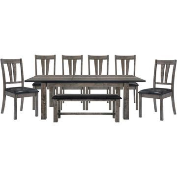 Cambridge Drexel Dining 8-Piece Set - Table, Six Upholstered Chairs and Bench