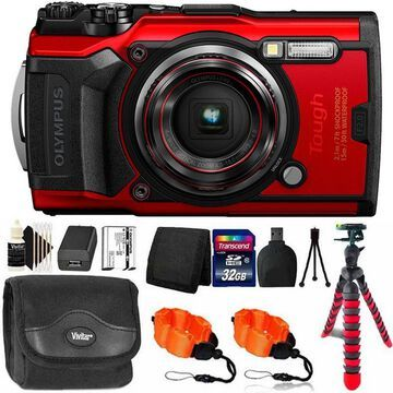 OLYMPUS Tough TG-6 Digital Camera Red with 32GB Memory Card & Accessory Kit