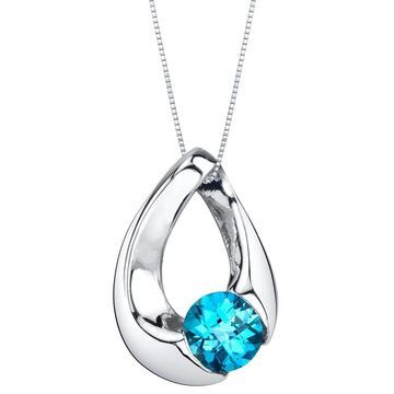 Oravo Swiss Blue Topaz Sterling Silver Slider Pendant Necklace
