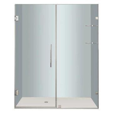 Aston Nautis Frameless Hinged Shower Door, Glass Shelves, Chrome, 68