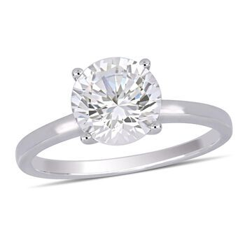 Modern Bride Gemstone Womens Lab Created White Sapphire 10K White Gold Solitaire Engagement Ring
