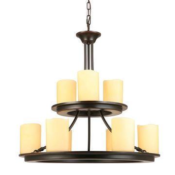 allen + roth Harpwell 9-Light Oil-Rubbed Bronze Traditional Tinted Glass Tiered Chandelier