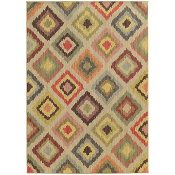 Style Haven Diamond Ikat Beige Indoor/Outdoor Area Rug (7'10 x 10'10) - 7'10