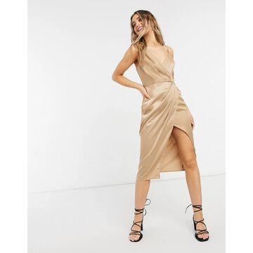 Little Mistress satin wrap dress in gold