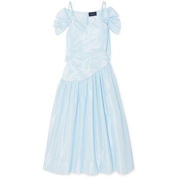 Simone Rocha - Embellished Ruched Taffeta Dress - Blue