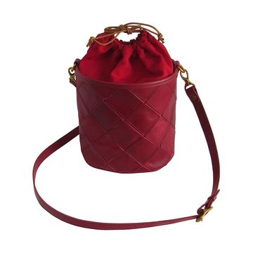 Amerileather Women's Bucket Bags Red - Red Leather Bucket Bag