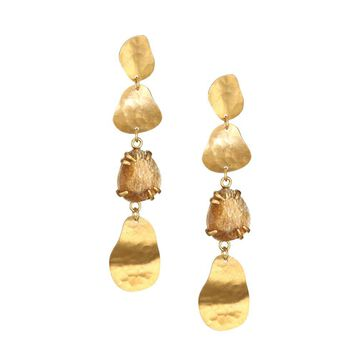 Golden Sunstone 18K Goldplated Sterling Silver Drop Earrings
