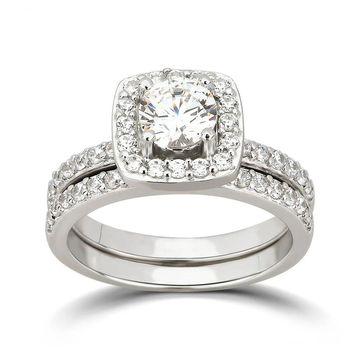 Divina Sterling Silver Cubic Zirconia Halo Bridal Ring Set
