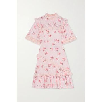 Needle & Thread - Desert Rose Ruffled Floral-print Broderie Anglaise Cotton-blend Mini Dress - Baby pink