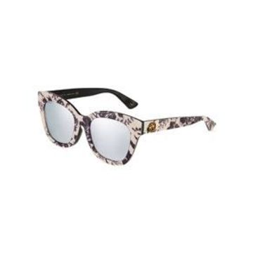 Square Acetate Floral Sunglasses with Mirrored Lenses