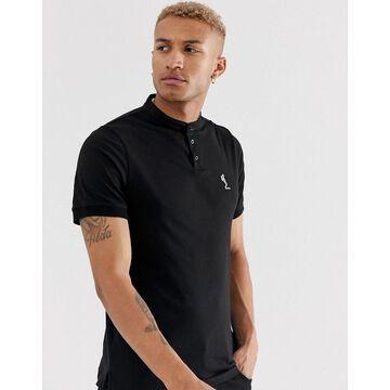 Religion polo with grandad collar in black