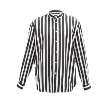 Givenchy - Striped Stand-collar Cotton-poplin Shirt - Mens - Black White