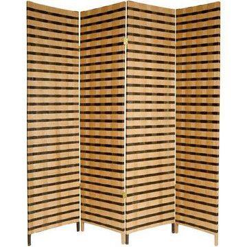 Oriental Furniture 6 Ft Tall 2-Tone Natural Fiber Room Divider, 4 panel