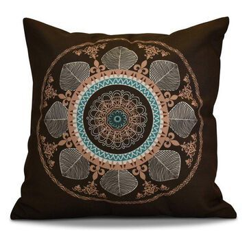 Stained Glass Geometric Print Outdoor Pillow, Brown, 18