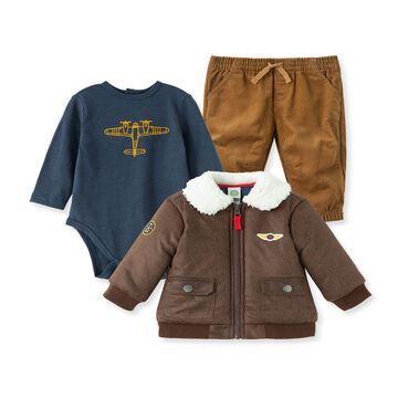 Little Me& 3-Piece Aviator Jacket, Bodysuit, and Pant set