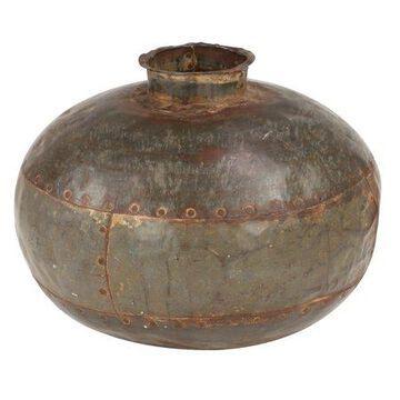 Decmode Large Round Hammered Metal Water Pot, 13.5 x 11