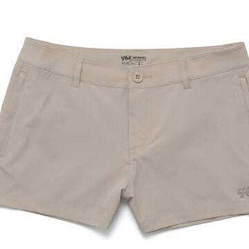 HUK Womens Drifter Size 10 Bone Heather Deck Shorts With Pocket