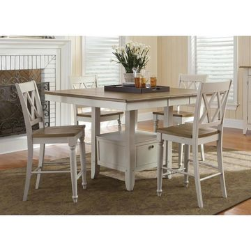 Al Fresco Two-Tone Transitional 54x54 Gathering Table - Antique White