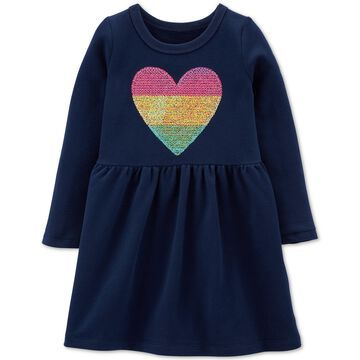 Toddler Girls Sequin-Heart Cotton Dress