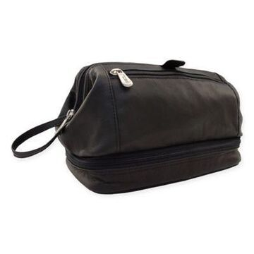 Piel Leather 10-Inch Classic U-Frame Utility Kit with Zip Bottom in Black