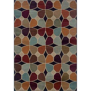 Style Haven Grey/Multicolored Geometric Area Rug (9'10 x 12'9) - 9'10