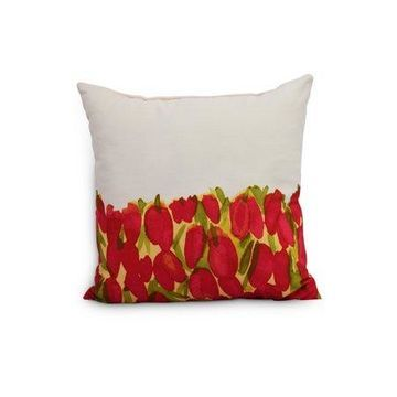 Simply Daisy's Sunset Tulip 18 inch Red Floral DecorativeOutdoor Pillow