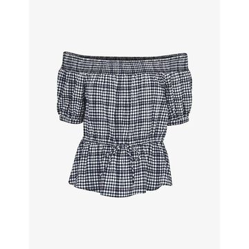Whistles Womens Black Off-the-shoulder Gingham-print Woven top 18