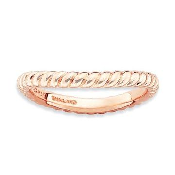 925 Rose Gold Flashed Silver Rope Pattern Wavy Ring