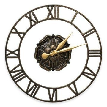 Whitehall Products Rosette Wall Clock in Black/Gold