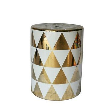 Benzara Stylish Ceramic Garden Stool In Gold And White