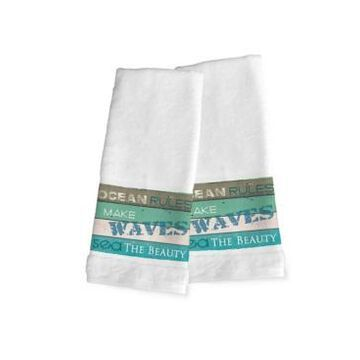 Laural Home Ocean Rules 2-Pc. Hand Towel Set Bedding