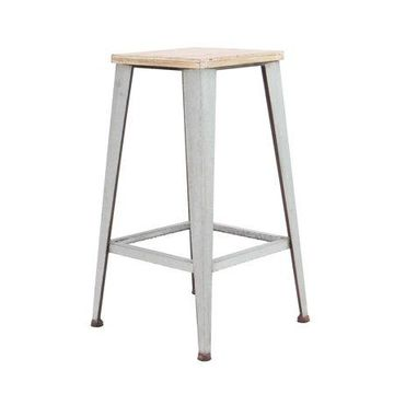 Decmode Industrial Wood and Iron Square Stool, White