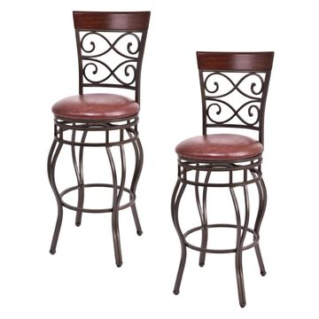 Goplus Set of 2 Brown Tall (36-in and up) Upholstered Swivel Bar Stool | HW54103NEW
