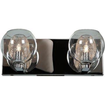 Access Lighting Aeria 2-Light Chrome Transitional Vanity Light | 52082-CH/CLR