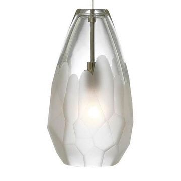 Briolette Satin Nickel One-Light Mini Pendant with Frost Glass