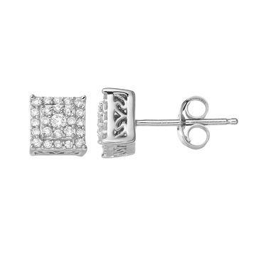 Simply Vera Vera Wang Sterling Silver 1/4 Carat T.W. Diamond Square Stud Earrings