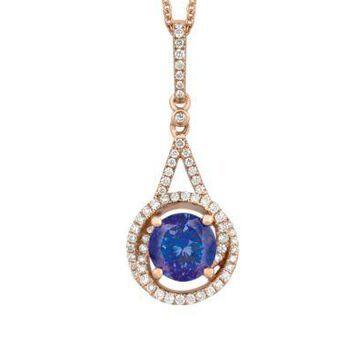 Le Vian Women 1/4 Ct. T.W. Vanilla Diamonds And 1.2 Ct. T.W. Blueberry Tanzanite Pendant Necklace In 14K Strawberry Gold - -