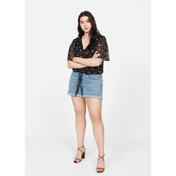 Violeta BY MANGO - Denim shorts medium blue - 20 - Plus sizes