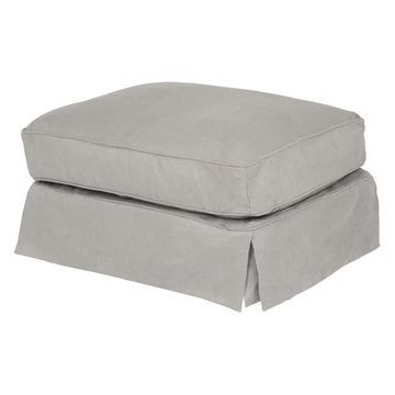 Box Cushion Slipcovered Ottoman Performance Fabric Gray