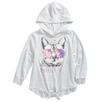 Beautees Big Girls I'm Purrfect Flip Sequin Hooded Top