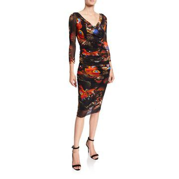 Butterfly V-Neck 3/4-Sleeve Ruched Fitted Dress