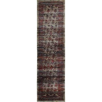 Distressed Border Panel Multi/ Red Rug - 2'6